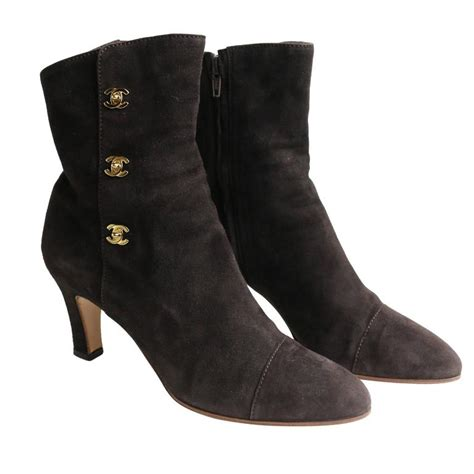 chanel brown suede ankle boots at 1stdibs