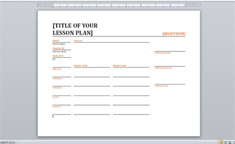 lesson plan template for word 10 best images of daily notes template word free
