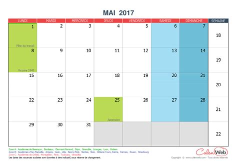 Calendrier Mai 2017 Calendrier Mensuel Mois De Mai 2017 Avec Jours F 233 Ri 233 S Et