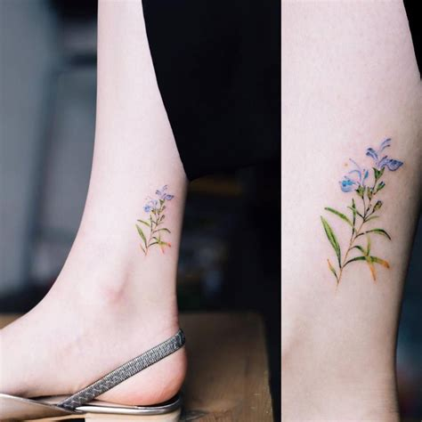 rosemary tattoo tiny rosemary on the ankle
