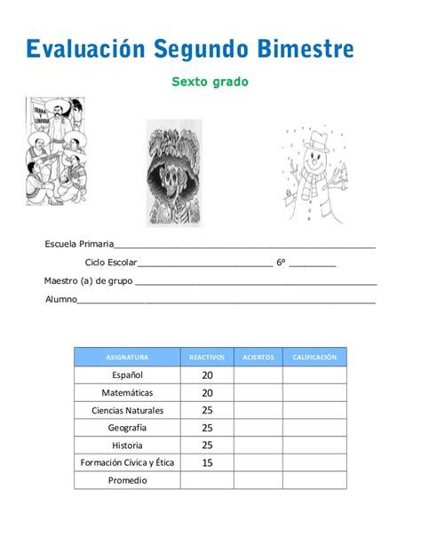 examen segundo bimestre examen de sexto a 209 o segundo bimestre