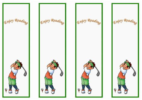 Printable Golf Bookmarks   golf bookmarks birthday printable