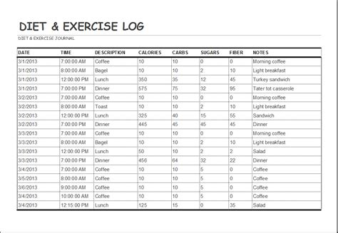 diet  exercise log template word excel templates