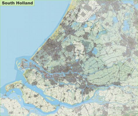 netherlands contour map large detailed topographic map of south
