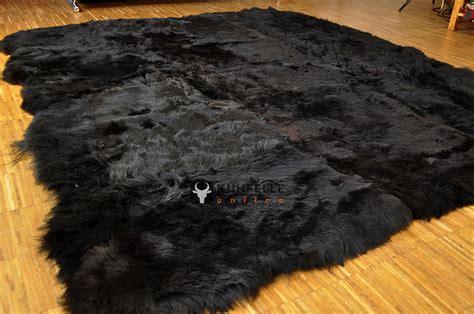 island lammfell teppich schwarz 170 x 170 cm kurzwollig - Schwarzer Fell Teppich