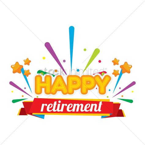 retirement clip happy retirement label vector image 1707699 stockunlimited