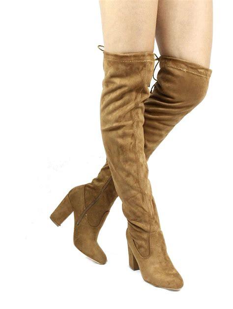 camel thigh high boots nia camel wowtrendz thigh high chunky heel boots
