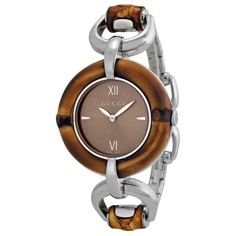 gucci bamboo brown stainless steel