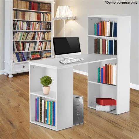 white computer desk with bookshelf sales