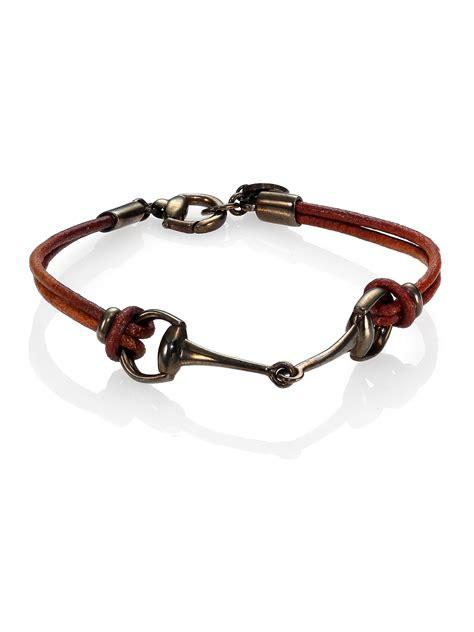 gucci horsebit bracelet in brown for lyst