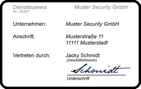 Word Vorlage Ausweis Der Perfekte Dienstausweis F 252 R Sicherheitsdienste 34a De