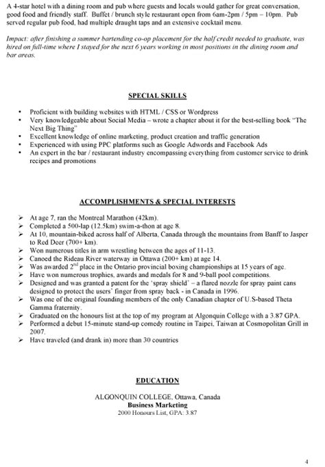 restaurant bar manager resume exles sle bar manager resume ideas on writing your own