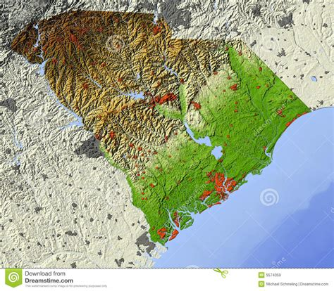 topographical map of carolina south carolina relief map royalty free stock images