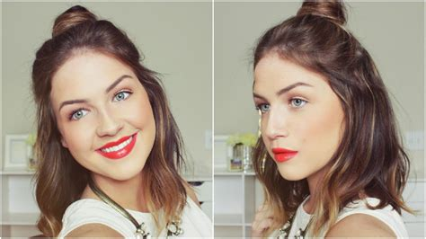 half up half down top knot hair tutorial loveshelbey