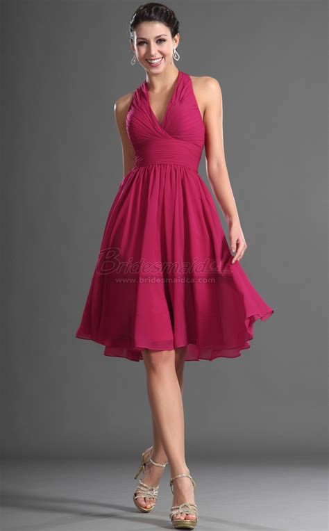 Light Blue Mermaid Dress Short Halter Chiffon Fuchsia Bridesmaid Dress Bd Ca423