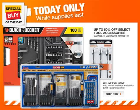 home depot daily deal 50 drill accessories 3 13