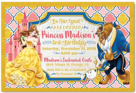 And The Beast Birthday Card Template by And The Beast Princess Birthday Invitations