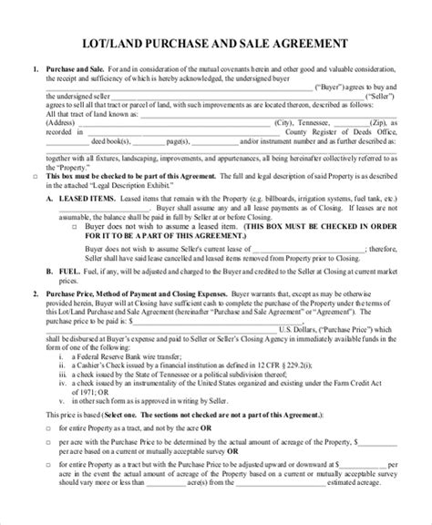 Sle Land Purchase Agreement Form 7 Documents In Pdf Word Land Purchase Agreement Template