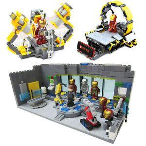 sets lego compatible iron man underground lab suit