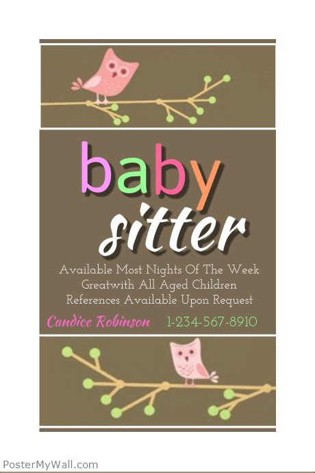 babysitting poster template baby sitting flyer template postermywall