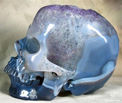 carved crystal skull   agate geode