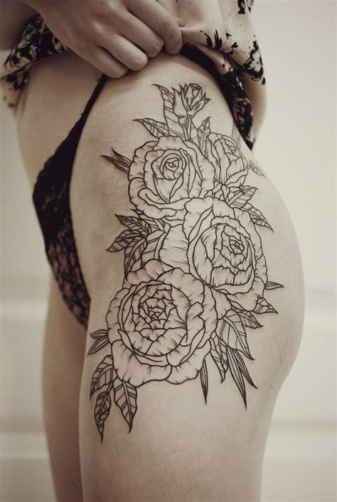 thigh flower tattoos floral hip thigh tattoos