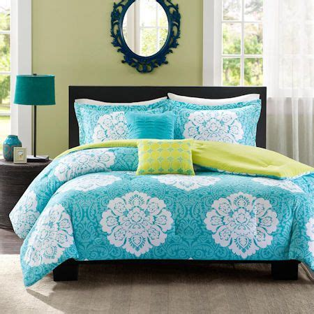 teal blue green damask scroll bedding teen girl twin xl