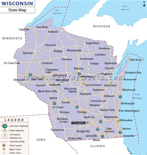 wisconsin on us map map of wisconsin state map of america