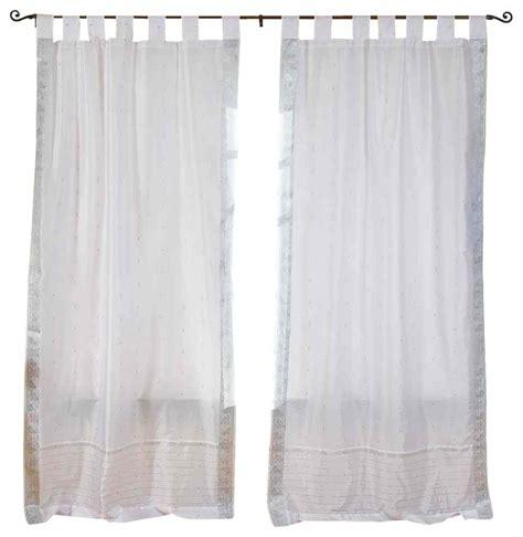 White Tab Top Curtains White Silver Tab Top Sheer Sari Curtain Drape And Panel 43x63 Pair Traditional Curtains
