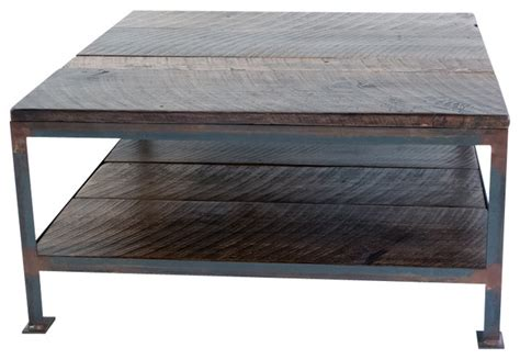 handcrafted square industrial steel and salvaged wood