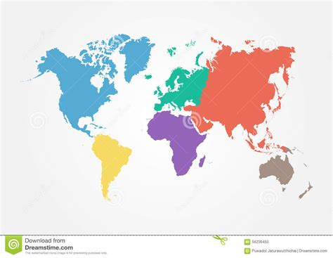 flat map of the world vector world map with continent in different color flat design stock vector image 56236450
