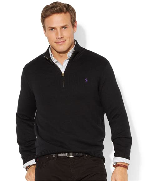 Hoodie Jumper Polos Black Jmp3 polo ralph big and half zip mockneck sweater in black for lyst