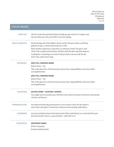 Resume Sample In Word Format For Freshers by Professional Resume Template Resume Cv