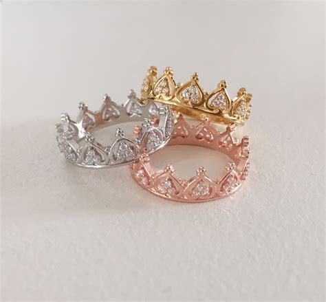 princess crown ring tiara ring stackable ring knuckle
