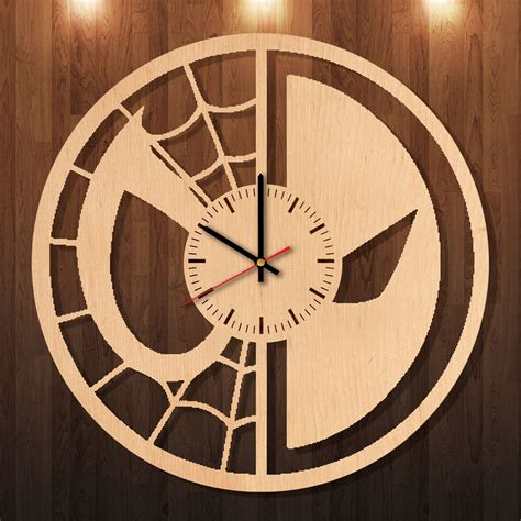 Handcrafted Wooden Clocks - deadpool mask handmade wood wall clock
