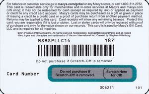 Macy S Gift Card Value - gift card spongebob macys united states of america christmas series col us ms