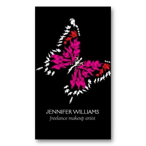 freelance makeup artist business card templates pink butterfly logo for freelance makeup artist business