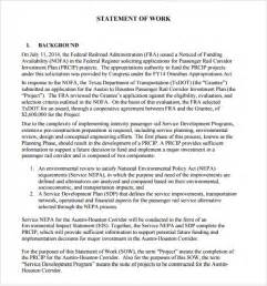 free statement of work template statement of work 7 free sles exles format