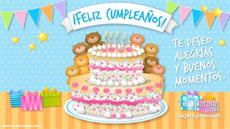 imagenes feliz cumpleaños perla tarjeta de feliz cumplea 241 os con ositos y torta cumplea 241 os