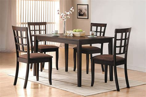Espresso Finish Dining Table Cardiff Espresso Finish Solid Wood Dining Table Set 5pc