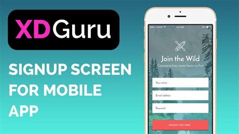 adobe xd design  mobile signup screen ui design