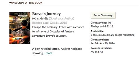 Free Giveaways Australia Only - goodreads giveaway brave s journey australia nz only jan goldie