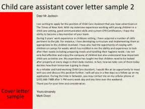 Daycare Assistant Cover Letter by Child Care Assistant Cover Letter
