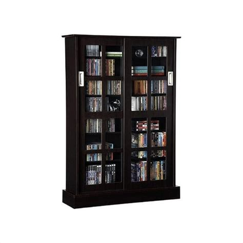 sliding door dvd storage cabinet windowpane sliding glass door media cabinet in espresso