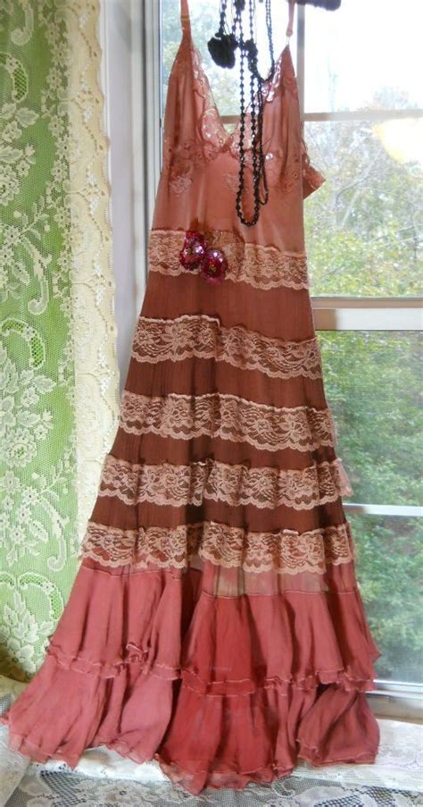 rust boho dress pink ruffles silk beige lace rose prairie