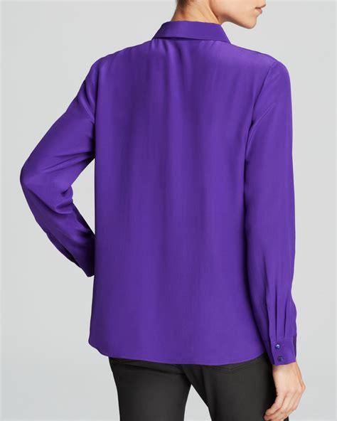 Lavender Silk Button Blouse by Lyst Eileen Fisher Silk Button Blouse In Purple