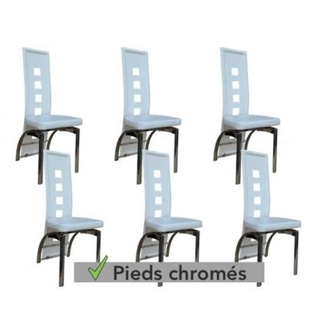 6 Chaises Blanches by Enzo Lot 6 Chaises Blanches Pieds Chrom 233 S Achat Vente