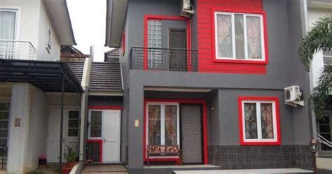 kombinasi terbaru warna cat merah rumah minimalis tampak depan