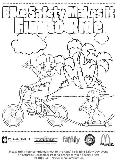 safety coloring pages bicycle safety coloring pages free printable bicycle