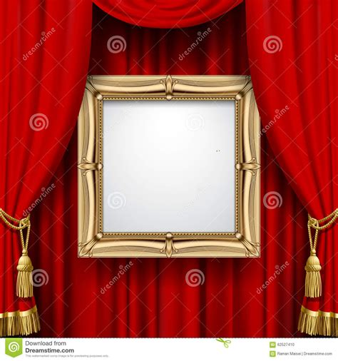 curtain frame red curtain with a gold frame stock vector image 62527410
